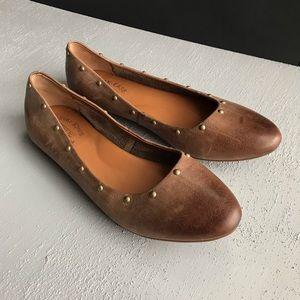Kork Ease Violette 9 Brown Leather Studded Ballet